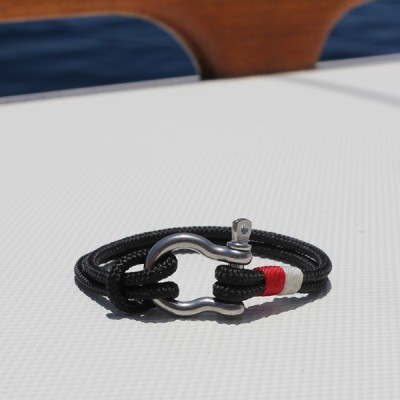 nautical jewelry - black with white and red accents and stainless steel shackle