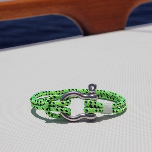 nautical jewelry - lime green with stainless shackle