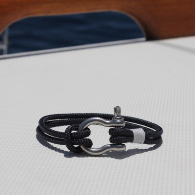 nautical jewelry - navy with white accent and stainless shackle