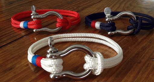 Nautical Shackle Bracelet - Sailor, Surfer, Beachwear - Red White and Blue