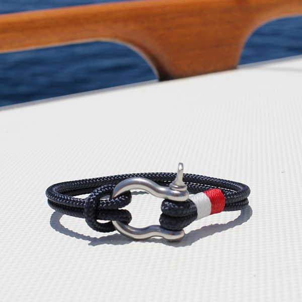 nautical jewelry - navy with white and red whipping and stainless steel shackle