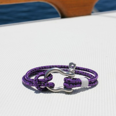 nautical jewelry - purple with stainless shackle